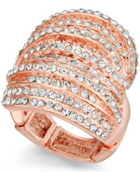 Inc International Concepts Rose Gold Tone Crystal Criss Cross Adjustable Ring Only At Macy's