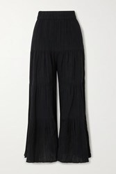 Mara Hoffman Net Sustain Shelesea Crinkled Organic Cotton Gauze Wide Leg Pants Black