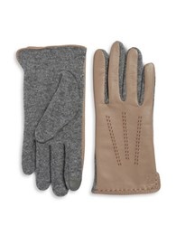 Lauren Ralph Lauren Wool Blend And Leather Touch Gloves Canyon Taupe
