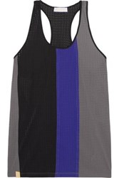 Monreal London Color Block Perforated Stretch Jersey Tank Gray