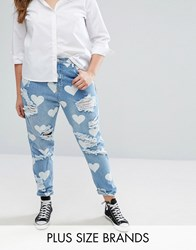 Alice And You Heart Print Distressed Boyfriend Jean Mid Wash Blue