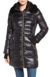 Via Spiga Women's Stand Collar Down Jacket With Removable Faux Fur Trim Black