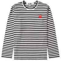 Comme Des Garcons Play Long Sleeve Heart Logo Stripe Tee Black