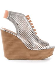 Marc By Marc Jacobs Wedge Platform Sandals Metallic