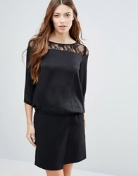 Blend She Ditto Lace Insert Blouse Black
