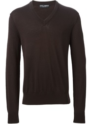 Dolce And Gabbana V Neck Sweater Brown