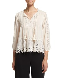 Rebecca Taylor 3 4 Sleeve Cotton Voile Eyelet Top Cream Creamsicle