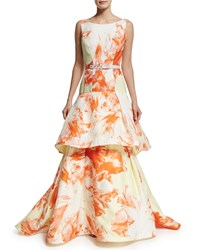 Christian Siriano Sleeveless Vintage Floral Belted Gown Citrus