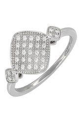 Bony Levy 18K White Gold Pave Diamond Geo Stacking Ring Size 6.5