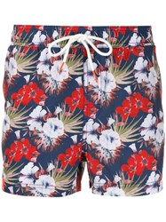 Sun 68 Floral Print Swim Shorts Blue