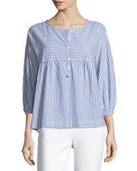 Max Studio 3 4 Sleeve Striped Shirting Top Blue White