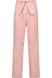 Sandro Perry Cotton And Linen Blend Twill Straight Leg Pants Pastel Pink