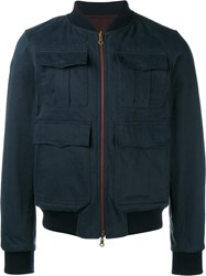 Dries Van Noten Reversible Embroidered Bomber Jacket Blue