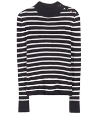 Isabel Marant Etoile Erwan Striped Linen And Cotton Blend Sweater Blue