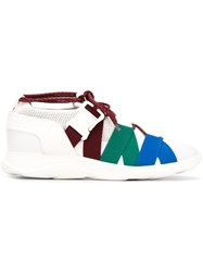 Christopher Kane Lace Up And Buckle Sneakers White
