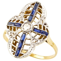 Turner And Leveridge 1920S 14Ct Gold Art Deco Sapphire Diamond Ring White