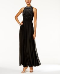 Jessica Howard Mock Neck Beaded Gown Black