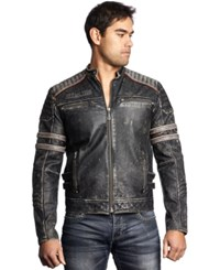 Affliction Leather Moto Jacket Black White Vintage Wash