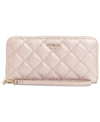Guess Seraphina Large Zip Around Signature Wallet Pink Gloss