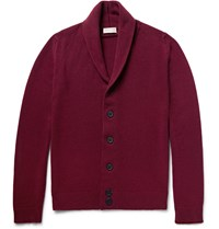 John Smedley Patterson Shawl Collar Merino Wool And Cashmere Blend Cardigan Burgundy