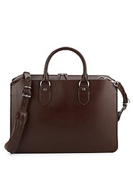 Brunello Cucinelli Leather Crossbody Briefcase Brown