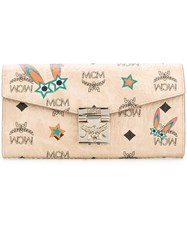 Mcm Logo Print And Applique Continental Wallet Nude And Neutrals