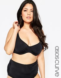 Asos Curve Mix And Match Bikini Top With Underwire Black