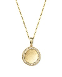 Kc Designs Diamond Disc Pendant Necklace In Yellow Gold .18 Ct. T.W. Gold White