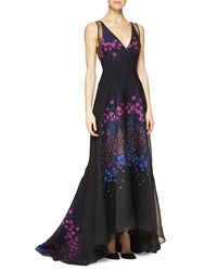 Lela Rose Floral Embroidered Sheer Back Full Gown Magenta Multi