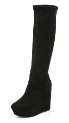 Alice Olivia Yula Suede Wedge Tall Boots Black