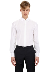 Corneliani Slim Fit Cotton Satin Tuxedo Shirt White