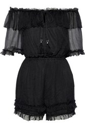 Love Sam Off The Shoulder Ruffle Trimmed Georgette Playsuit Black