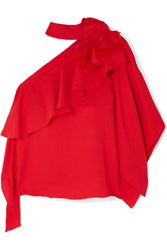 Costarellos One Shoulder Ruffled Crepe And Organza Top Red