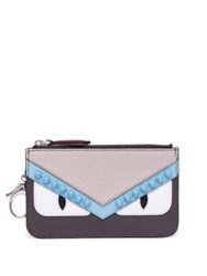 Fendi Monster Leather Key Case Pouch Carbone