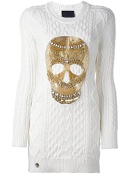 Philipp Plein Skull Cable Knit Sweater Dress White