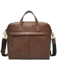 Fossil Men's Buckner Leather Briefcase Rustcopper