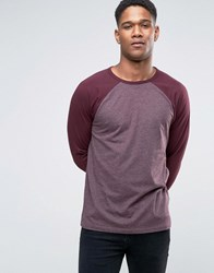 Asos Long Sleeve T Shirt With Contrast Raglan Sleeves In Oxblood Oxblood Red