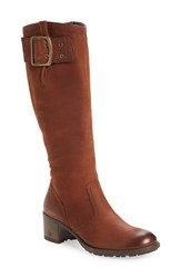 Paul Green Women's Kendra Knee High Buckle Boot Cigar Nubuck Leather