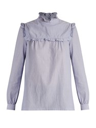 A.P.C. Thea High Neck Ruffle Trimmed Cotton Blouse Light Blue