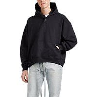 Fear Of God Cotton Terry Oversized Henley Hoodie Black