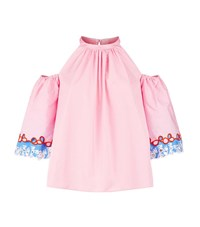 Peter Pilotto Cold Shoulder Embroidered Top Female Pink