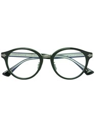 Gucci Eyewear Embossed Titanium Round Glasses Black