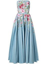 Marchesa Notte Floral Embroidered Dress Blue