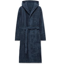 Schiesser Cotton Terry Hooded Robe Blue