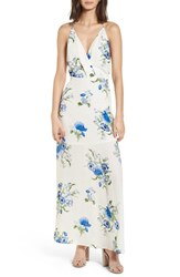 Lush Surplice Maxi Dress Ivory Floral