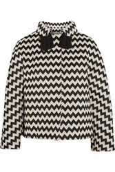 Issa Petula Zigzag Woven Wool Blend Coat Black