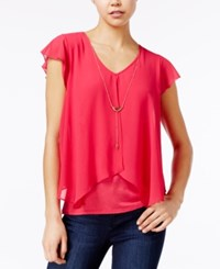 Amy Byer Bcx Juniors' Chiffon Layered Top With Necklace Hot Pink
