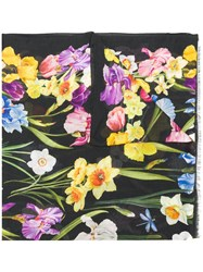 Dolce And Gabbana Floral Print Scarf Black