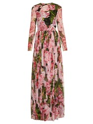 Dolce And Gabbana Rose Print Chiffon Gown Pink Multi