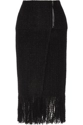 Maiyet Fringed Wool Blend Tweed Wrap Skirt Black